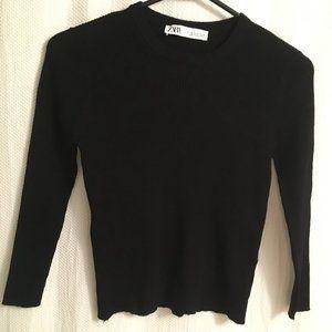 Zara Black ribbed mini-sweater